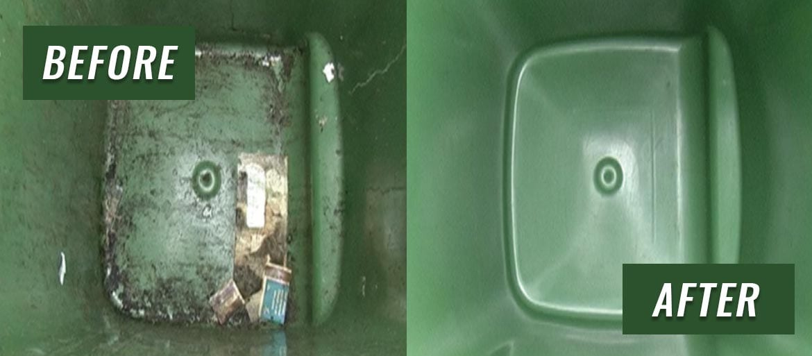before and after wheelie bin cleaning